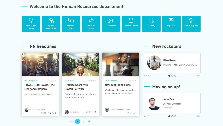 HR Intranet Startseite: Prozesse verlinken, Nachrichten anzeigen, neue MitarbeiterInnen vorstellen