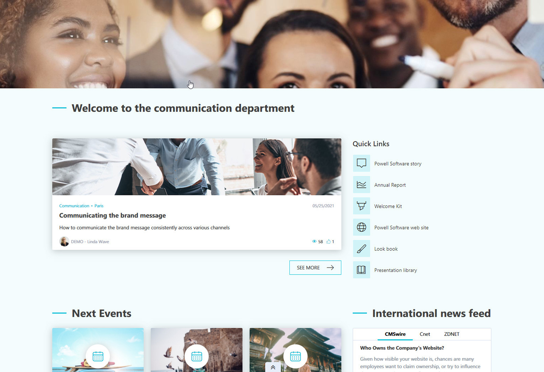 Aktuelle Nachrichten und Verlinkungen auf der Intranet Startseite