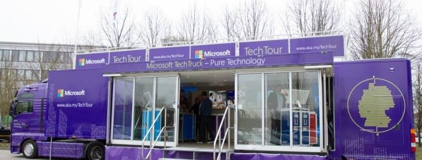 Erstklassige Vortragstechnik im Microsoft Tech Truck.