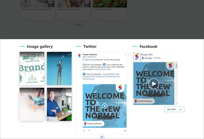Twitter- und Facebook-Beiträge im Intranet zum Liken und Teilen bereitstellen