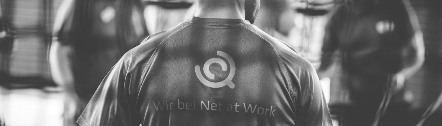 """Wir bei Net at Work"" Eventtag Header"