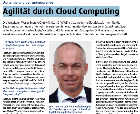 Ausschnitt aus dem Interview mit Jens Jäger Westfalen Weser Energie GmbH & Co. KG