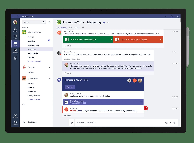 Microsoft Teams Oberfläche