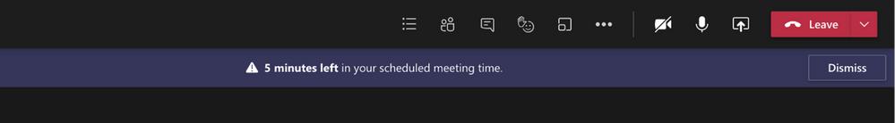 Microsoft Teams Hinweis verbleibende Meeting-Zeit