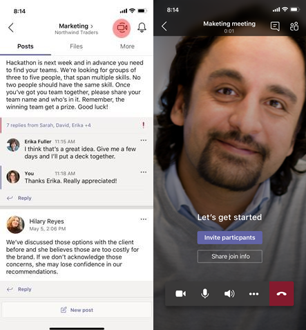 Microsoft Teams mobile Sofortbesprechungen