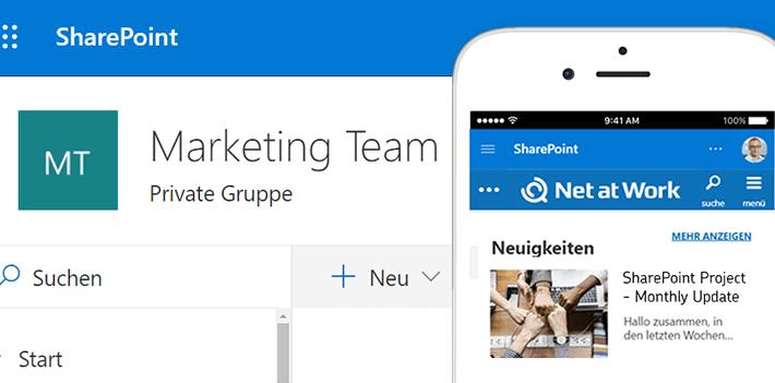 SharePoint Übersicht Desktop und mobile Ansicht