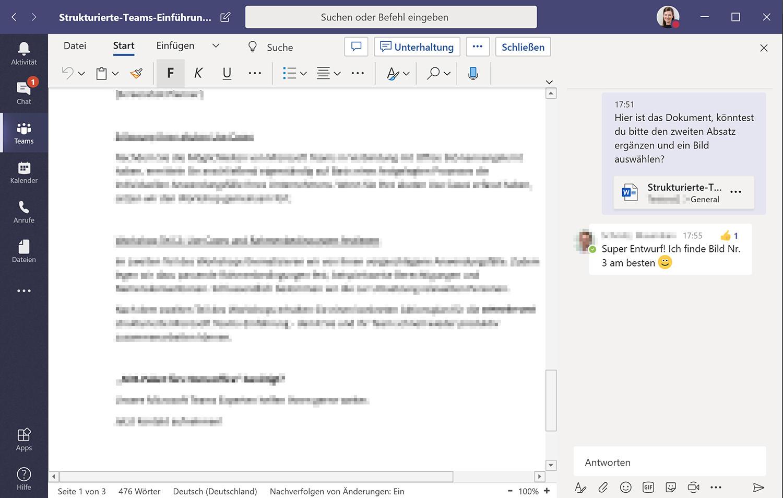 Bearbeitung eines Word-Dokuments und Teams-Chat