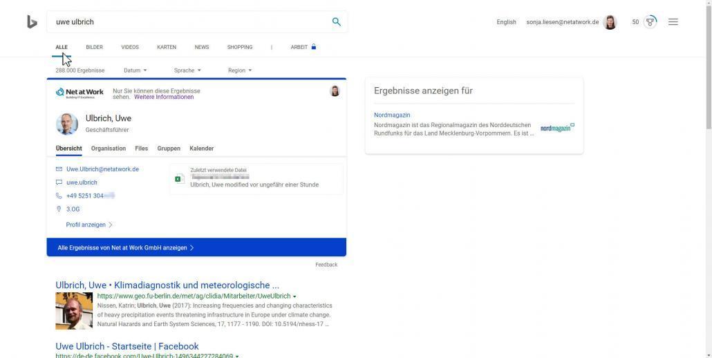 Unternehmensinformationen werden übersichtlich in Bing dargestellt