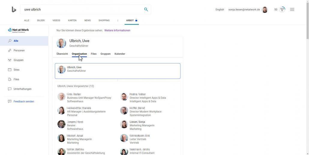 Bing-Suchergebnisse Organisation