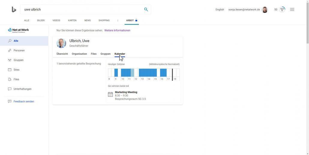 Bing-Suchergebnisse Kalender