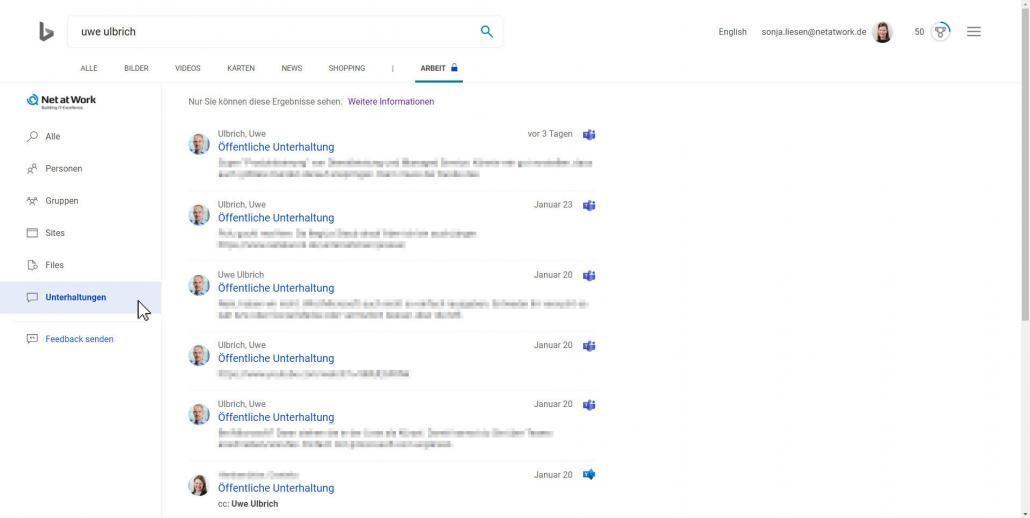 Bing-Suchergebnisse Unterhaltungen