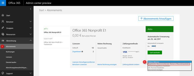 Office 365 DPOR eintragen