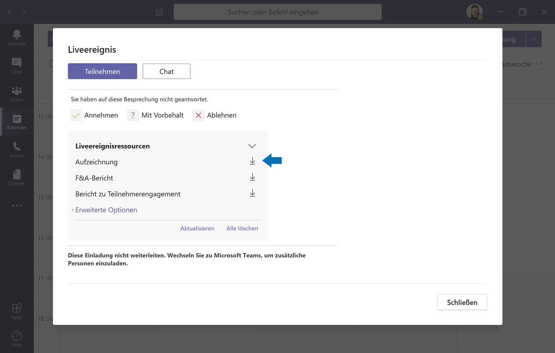 Microsoft Teams Liveereignisressourcen