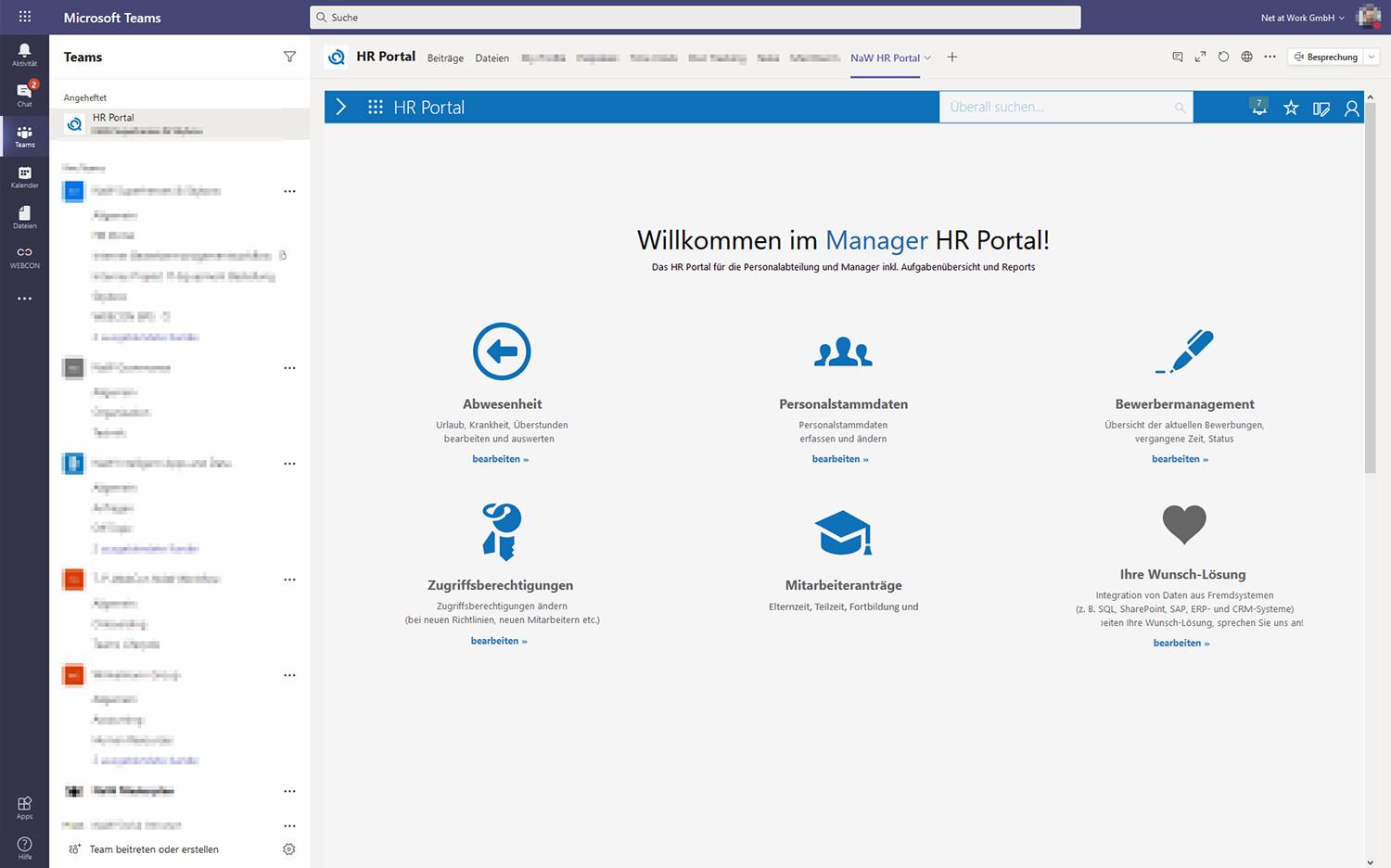 Manager HR Portal in Microsoft Teams