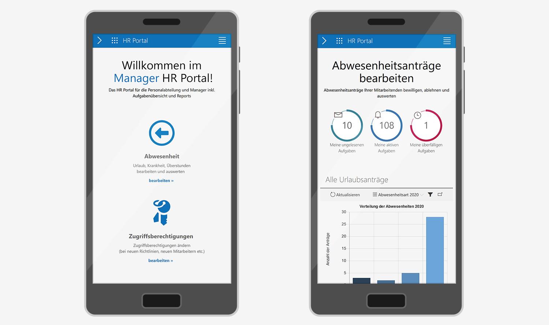 Manager HR Portal: Mobile Ansicht