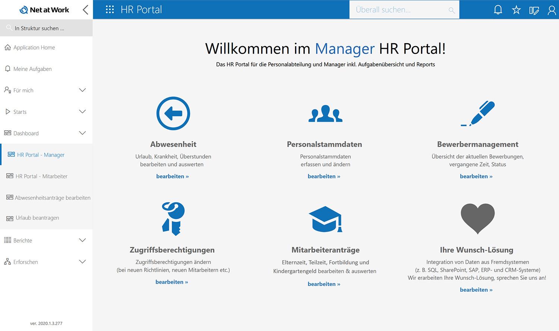 Manager HR Portal: Startseite mit zentralem Zugriff auf sämtliche HR Prozesse
