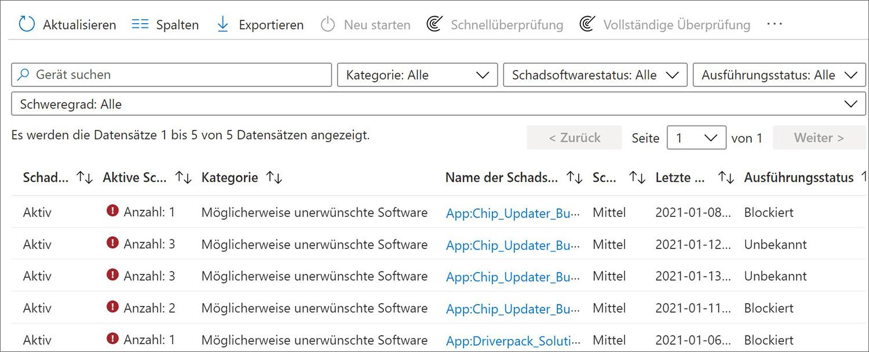 Beispiel Reports für Windows 10 Clients