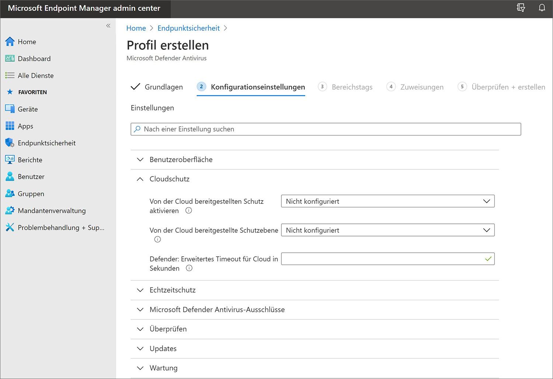 Auszug der Konfigurationsmöglichkeiten im Microsoft Endpoint Manager