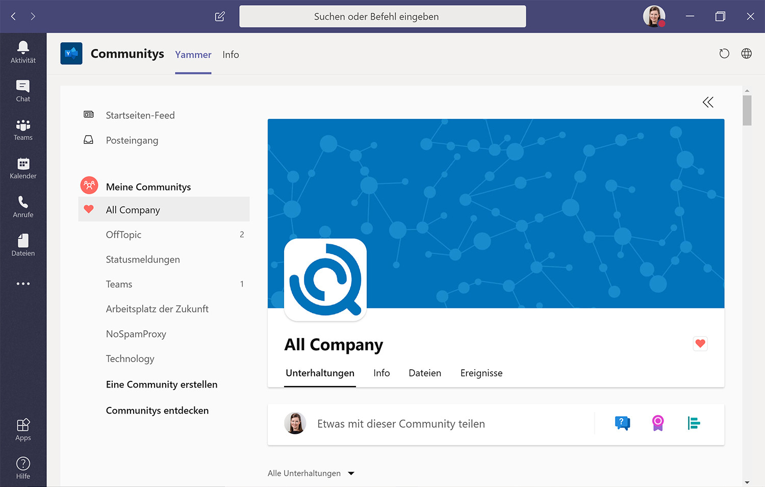 "App ""Communitys"" zur direkten Microsoft Teams Integration"