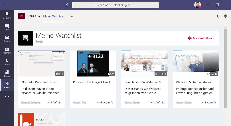 Microsoft Stream App zur direkten Microsoft Teams Integration