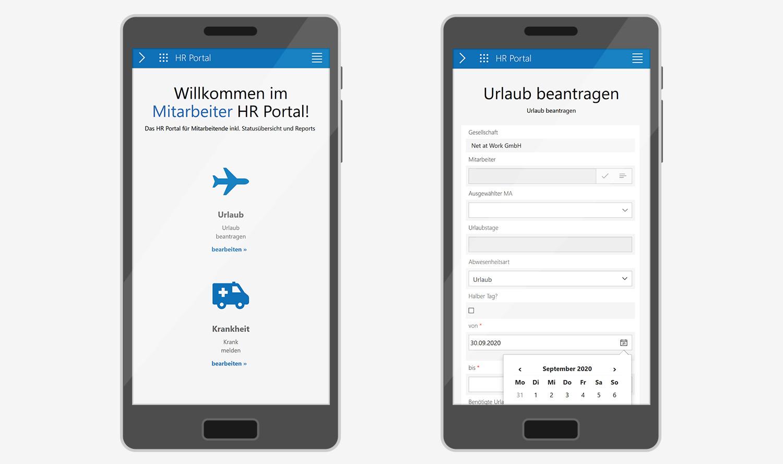 Mitarbeiter HR Portal: Mobile Ansicht