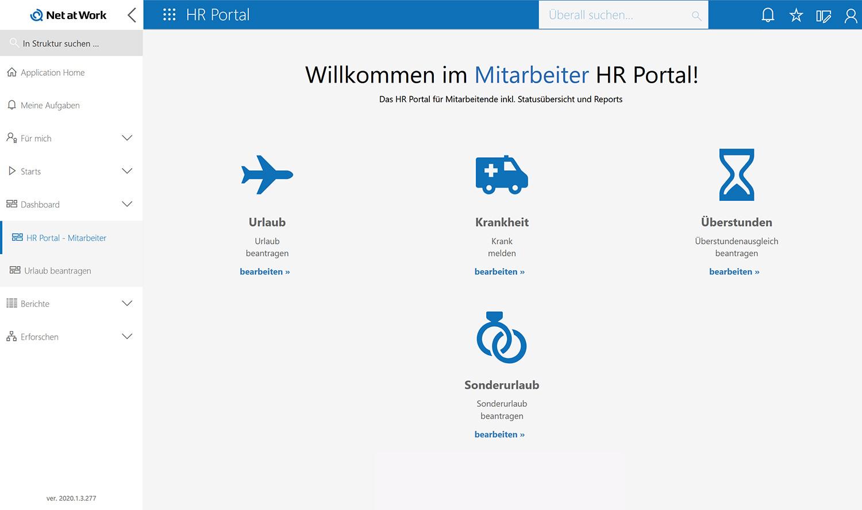 Mitarbeiter HR Portal: Startseite Abwesenheitsantrag stellen