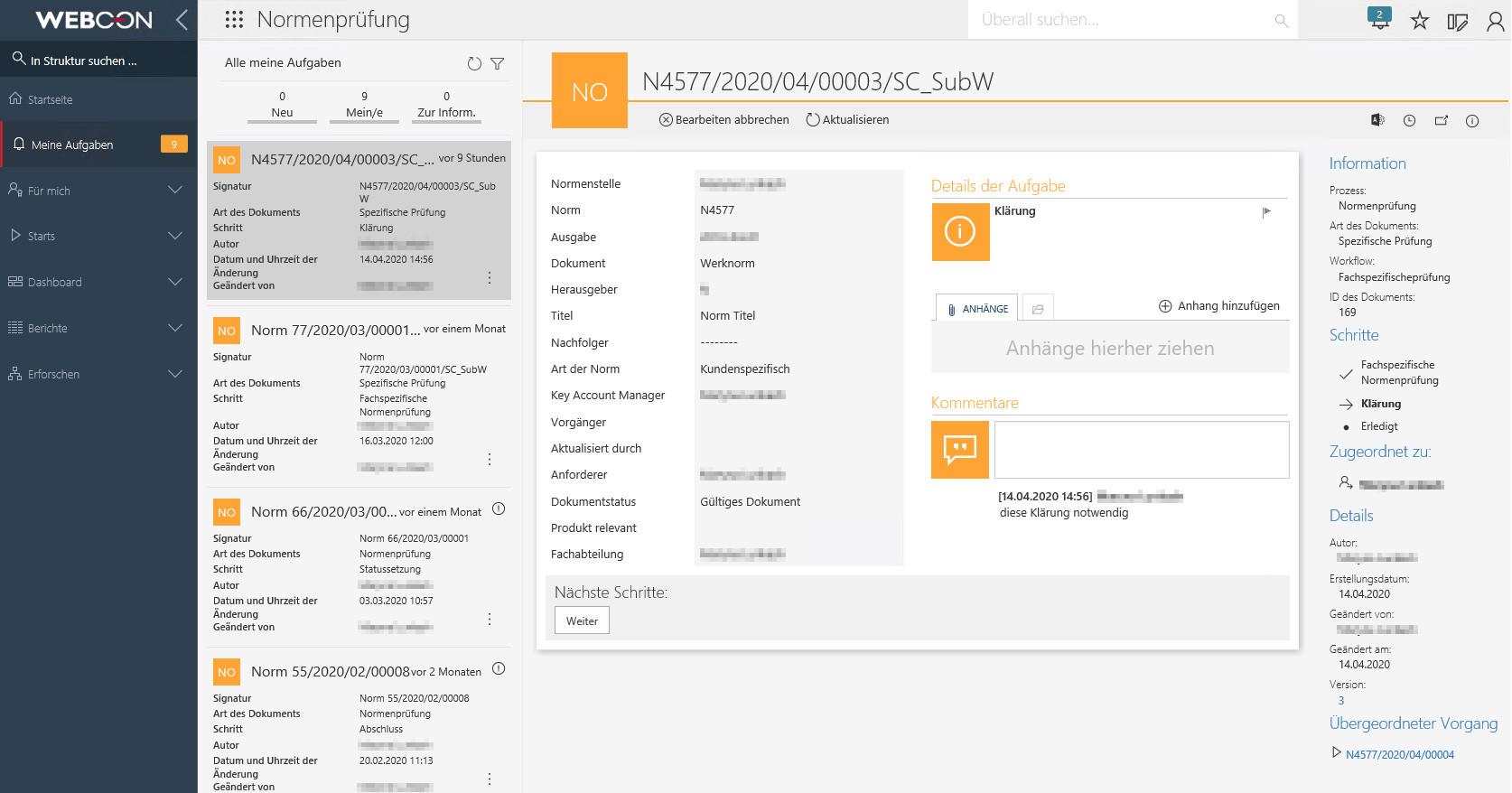 Werksnormen-Prüfung digitalisieren: Benutzer Aufgaben im Sub-Workflow