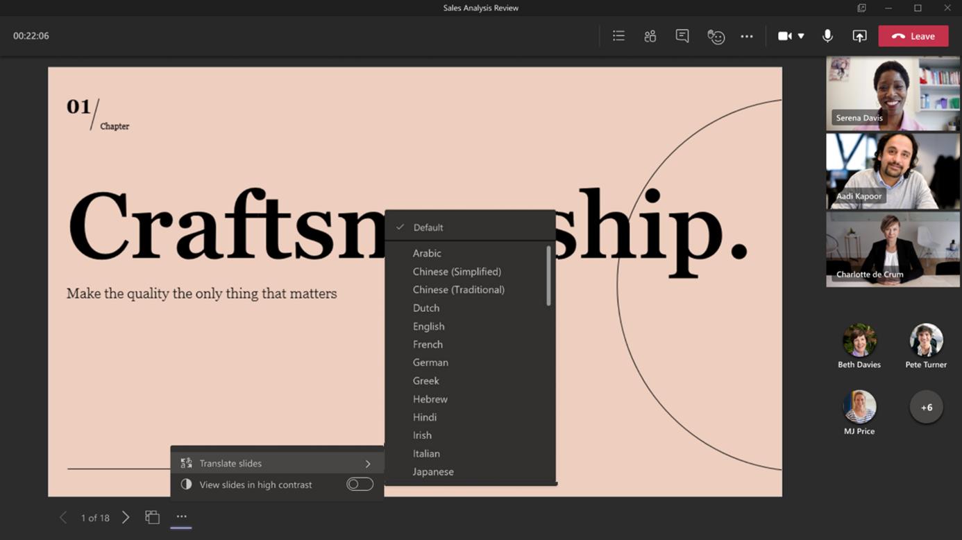 PowerPoint Live: Übersetzungsfunktionen für Folien-Inhalte
