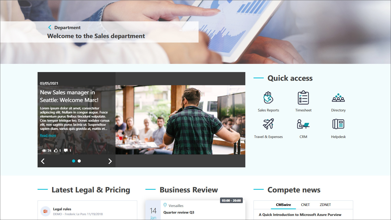 Sales Intranet Startseite: Prozesse verlinken und Nachrichten vorstellen