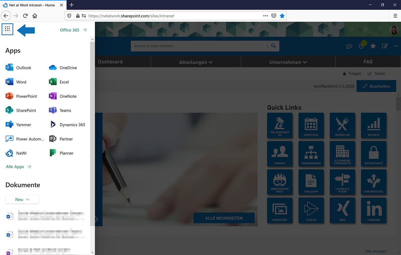 Das SharePoint Menü ermöglicht den direkten Zugriff auf Office 365 Applikationen
