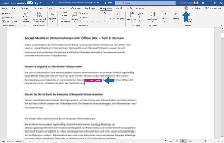 Social Collaboration: Die Markierung zeigt live die Bearbeitungsposition eines Team-Mitglieds im Word-Dokument