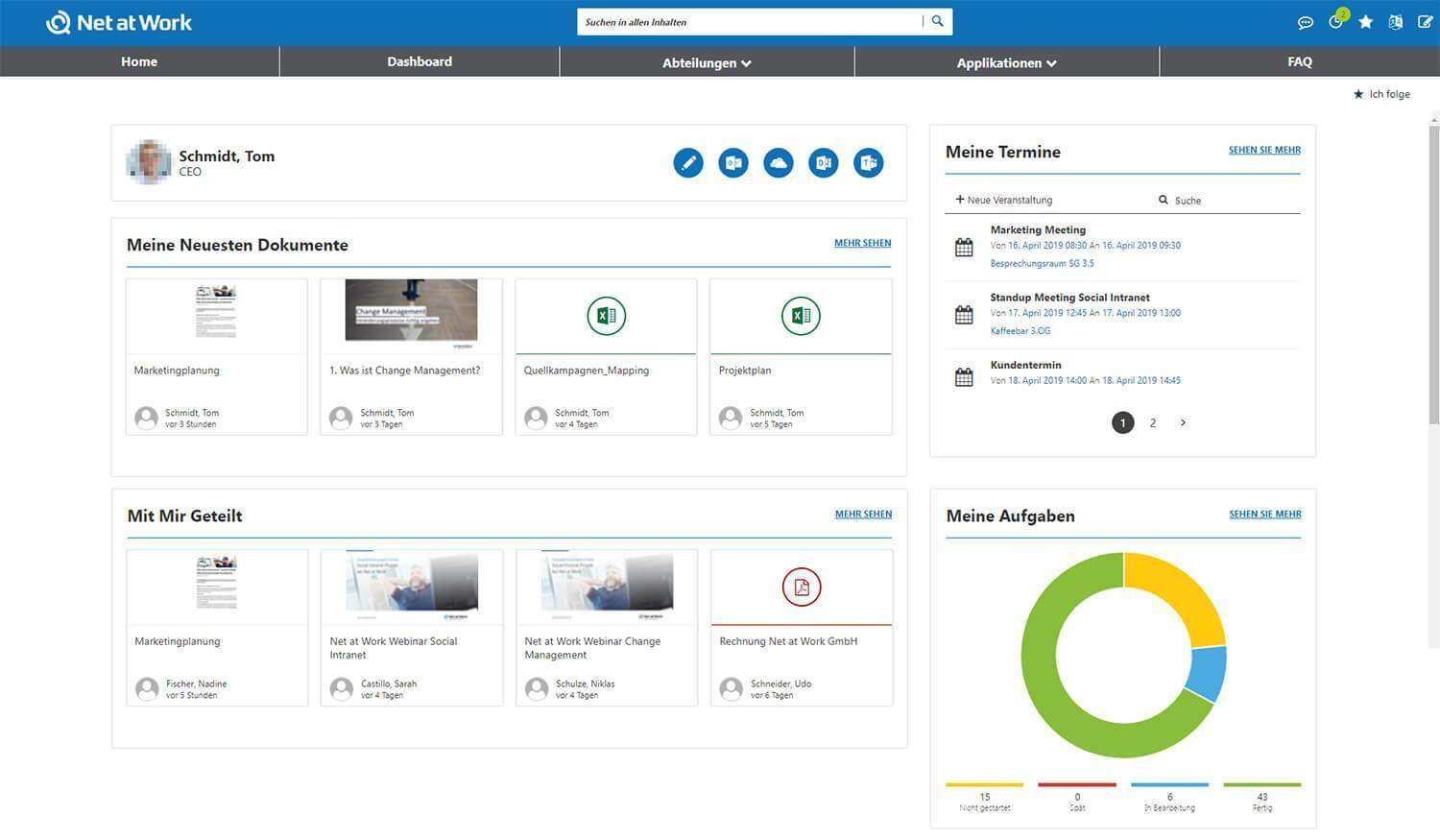 Social Intranet Dashboard