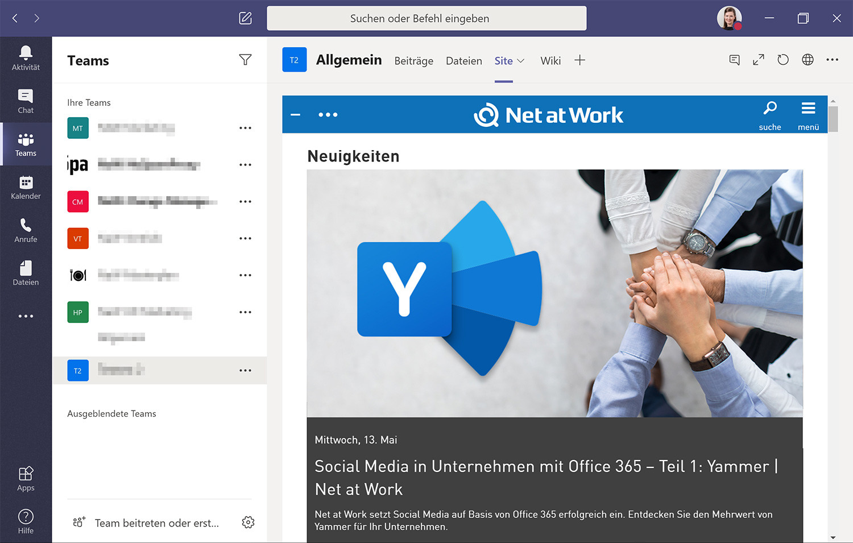 Social Intranet in einem Microsoft Teams Kanal anzeigen