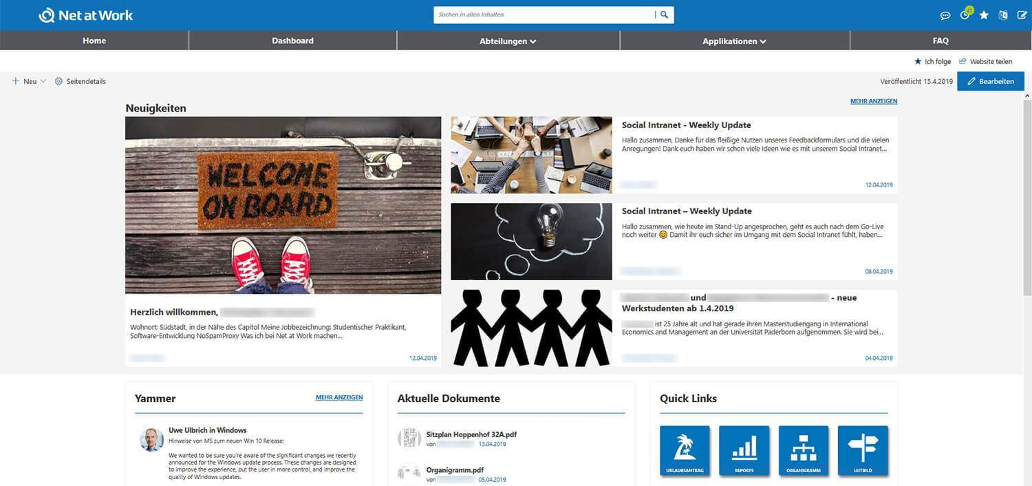 Social Intranet Homepage