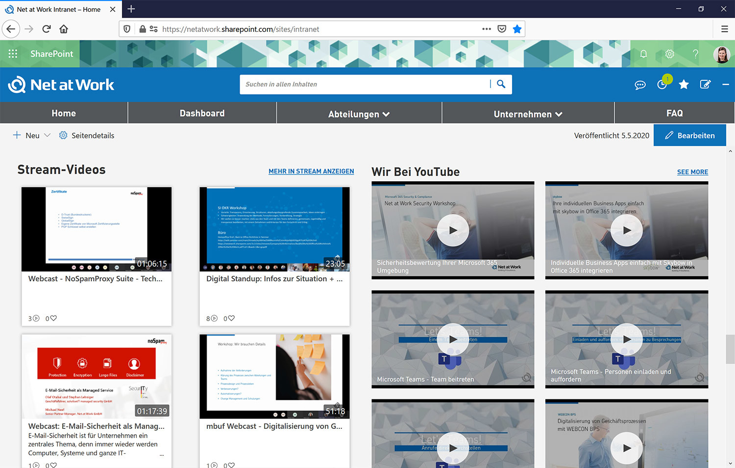 Microsoft Stream und YouTube-Videos im Social Intranet
