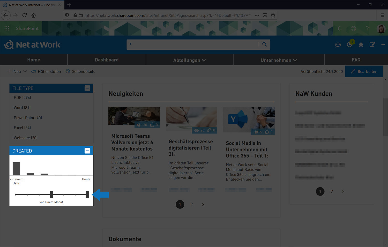 Social Intranet Suche nach * und anschließende Eingrenzung des Veröffentlichungszeitraums