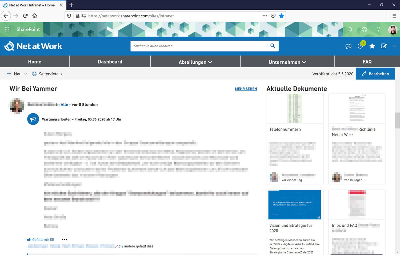 Yammer und aktuelle Dokumente im Social Intranet