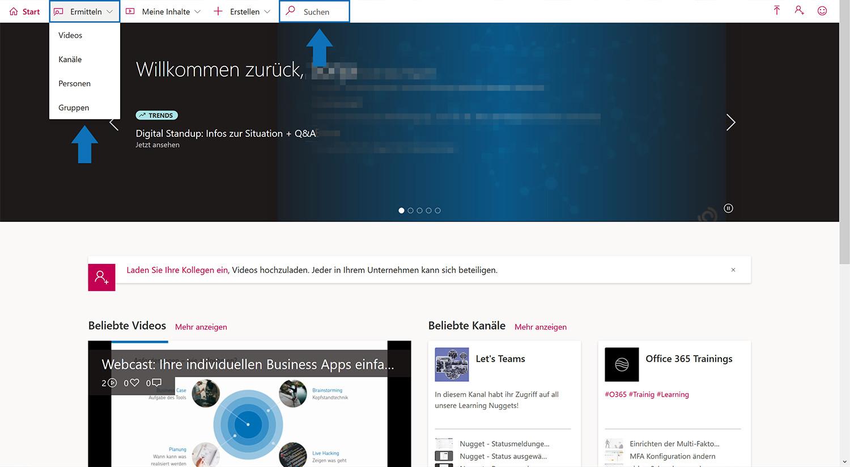 Stream-Suche nach Themen, Personen, Gruppen oder Kanälen