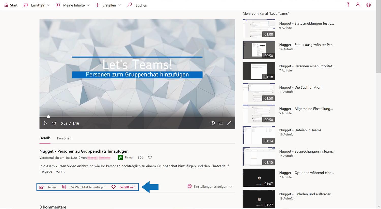 """Stream-Video mit den Social Media Interaktionsmöglichkeiten """"Teilen"""", """"Gefällt mir"""" und """"Neuen Kommentar posten""""."""