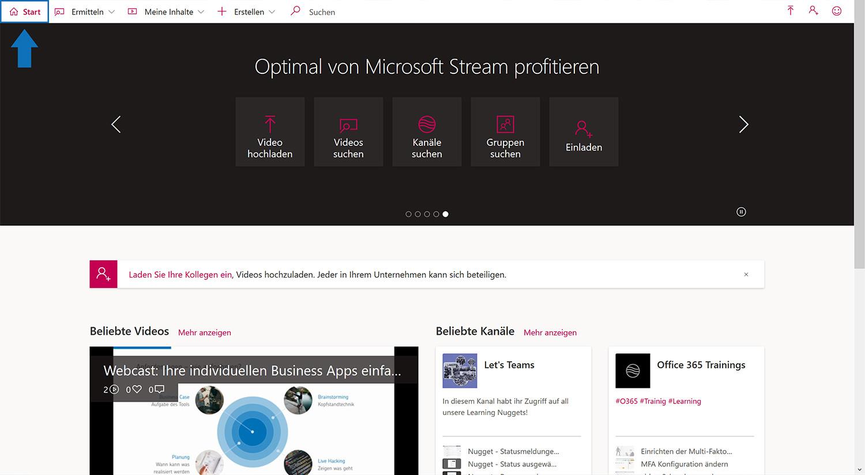 Die Startseite zeigt die persönliche Watchlist sowie beliebte Videos und Kanäle