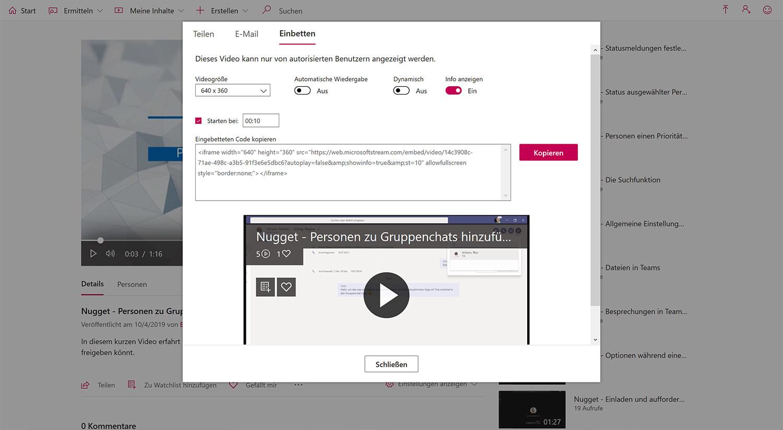 Einbetten von Stream-Videos via HTML-Code